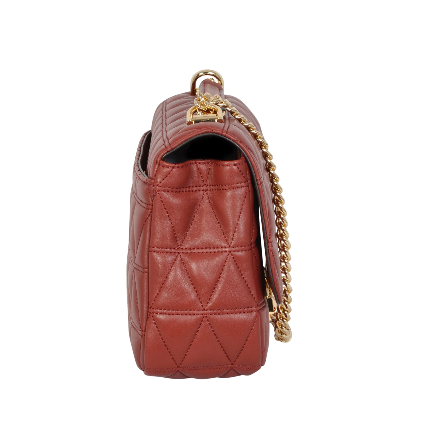 Michael Kors Sloan brandy chain bag in sheepskin leather. | Shop Luxury Shoulder Bag Online
