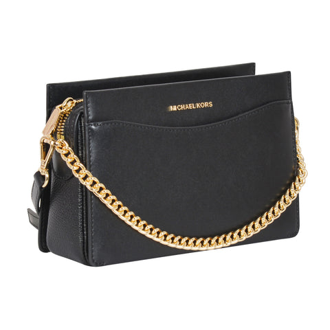 JET SET LARGE LEATHER BLACK CROSSBODY BAG