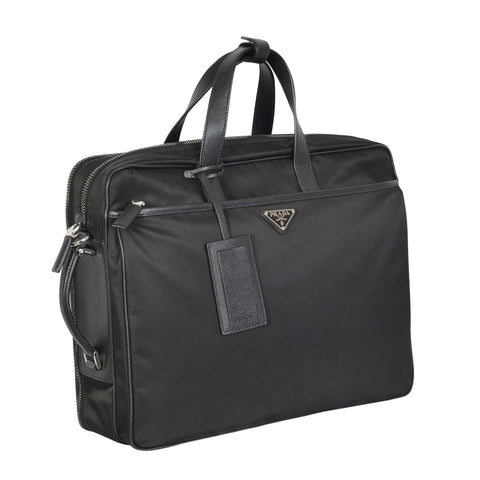BORSA PORTA PC BLACK NYLON AND LEATHER LAPTOP BAG