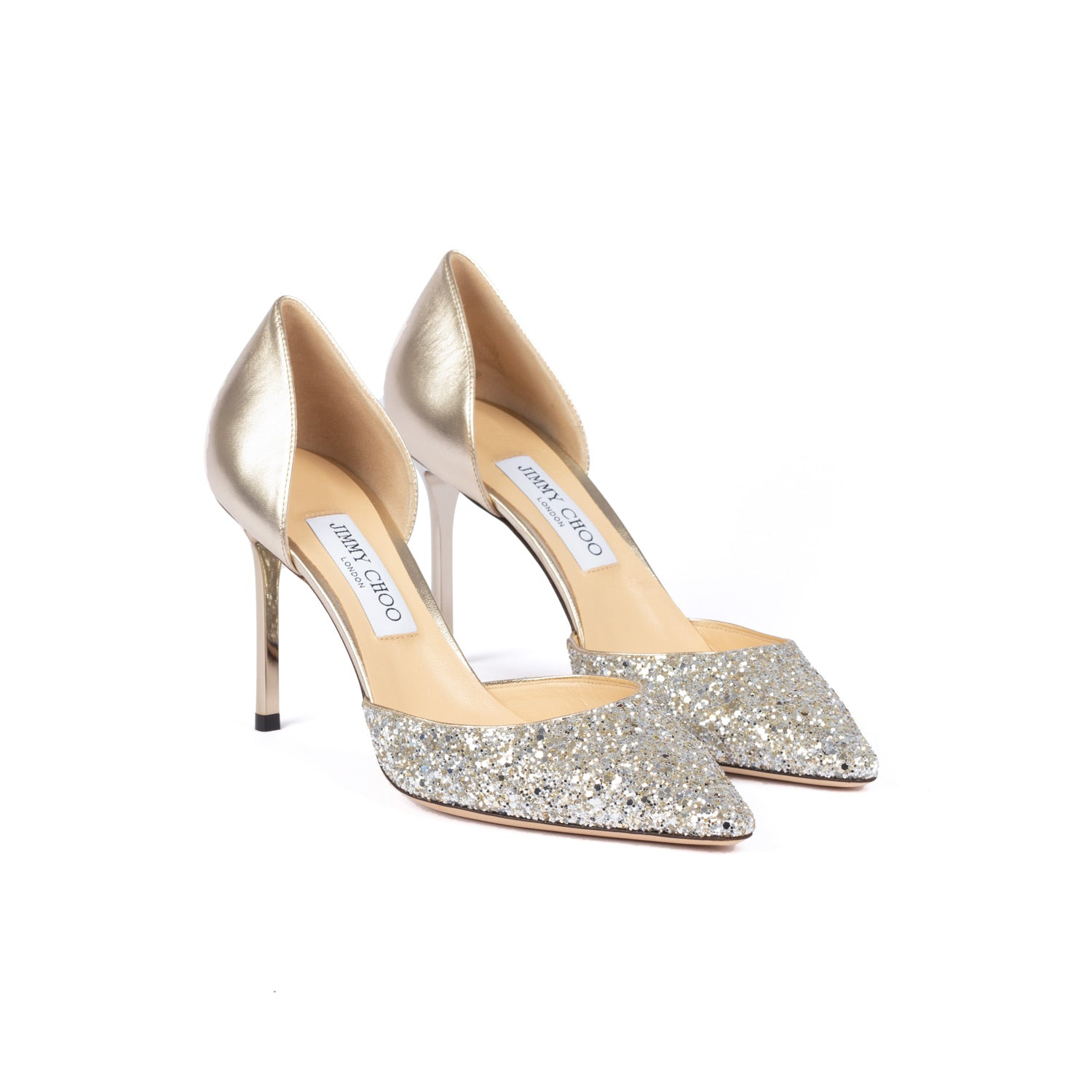 Esther 85 Coarse Glitter Fabric/Metallic Nappa | Shop JIMMY CHOO Online India