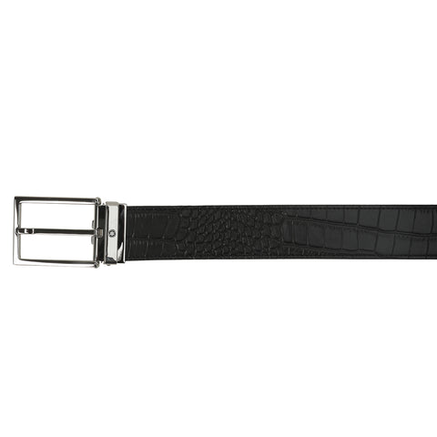 MONT BLANC SQUARE SHINY PALLADIUM PIN BUCKLE BELT