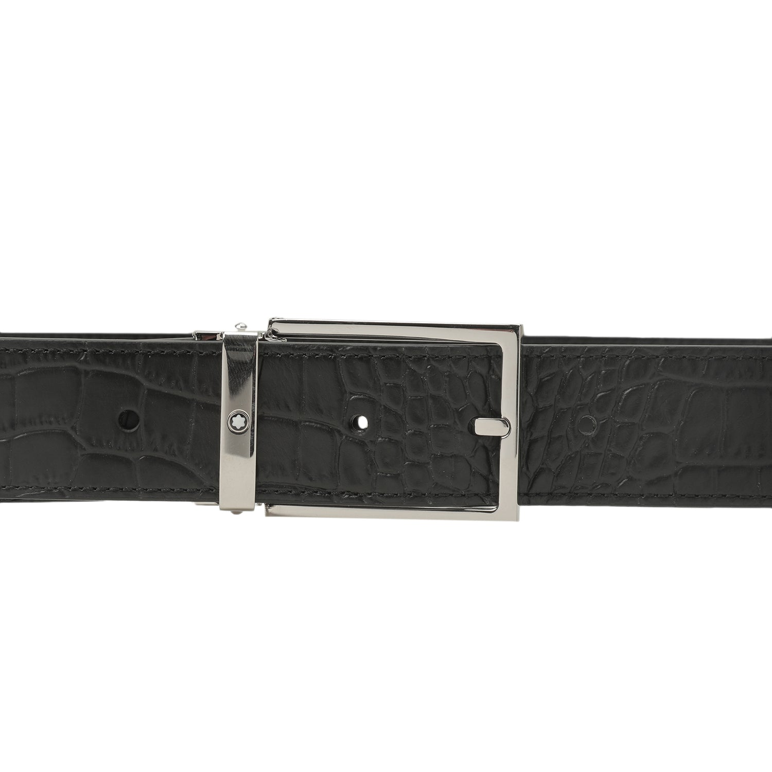 mont blanc square shiny palladium pin buckle belt | shop online at galleriadilux.com