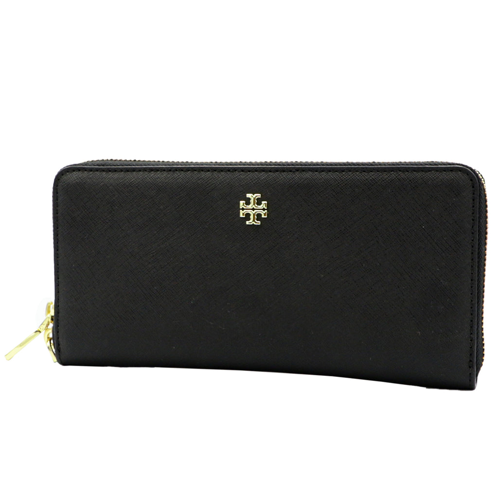 Emerson Leather Passport Black Continental Wallet | Shop TORY BURCH Online India