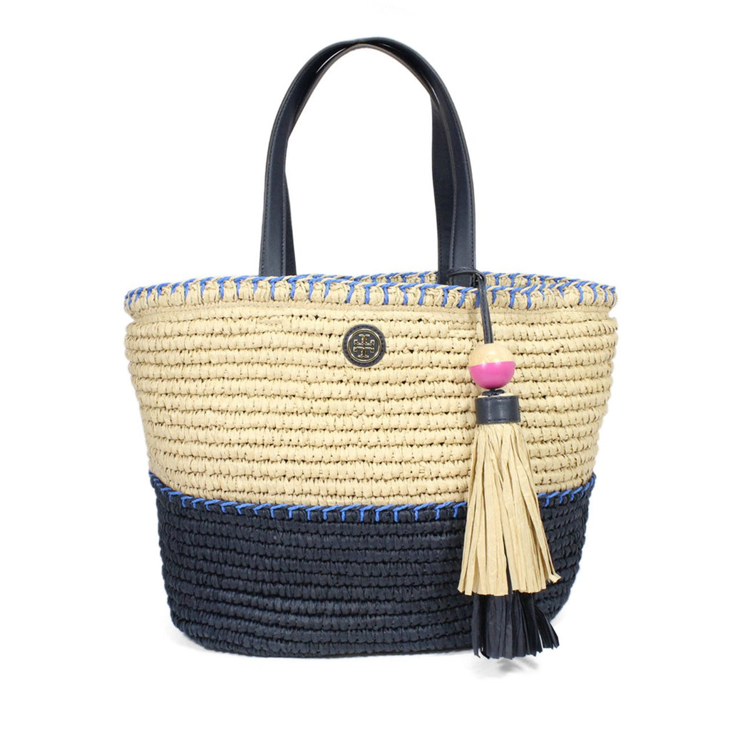 Tory Burch Colorblock Straw Tote