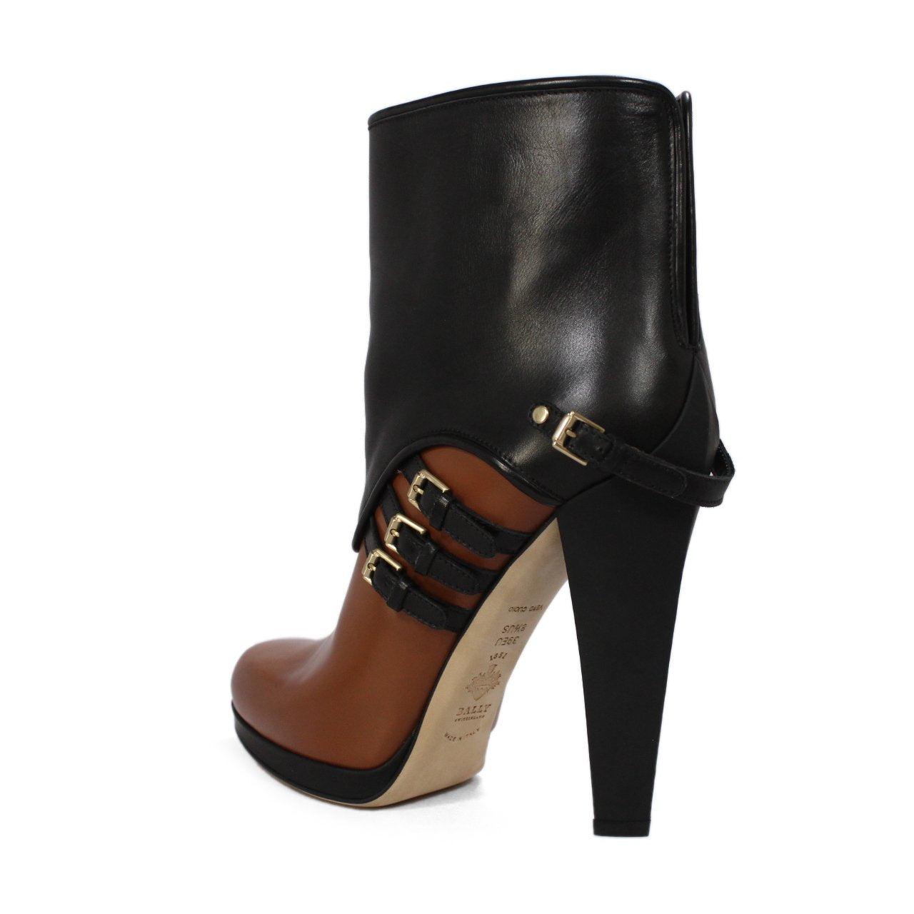 Bally Dienne Dual Color Buckle Strap Ankle Booties