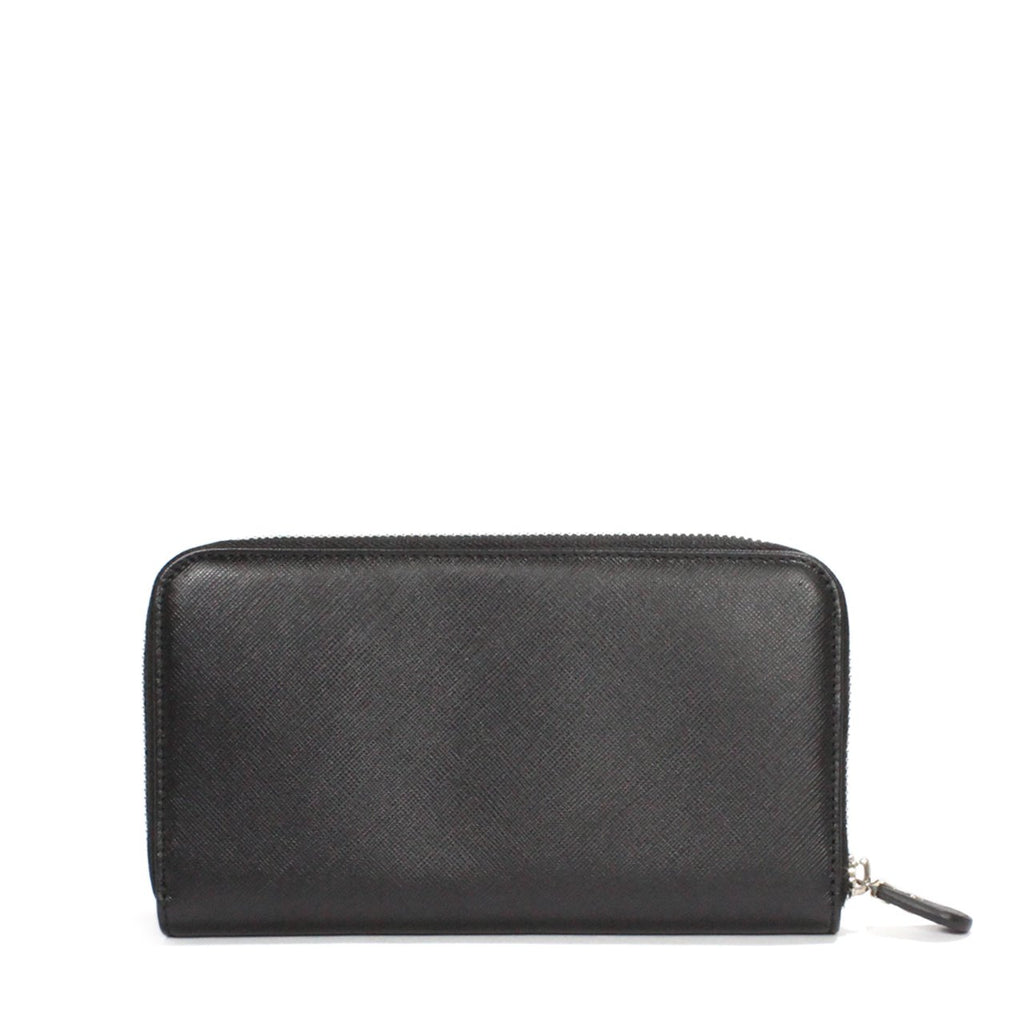 Ferragamo Ganchini Black Leather Zip Around Wallet