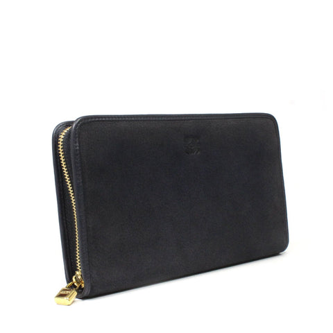 Loewe Amazona Giant Zip Around Wallet In Suede Leather