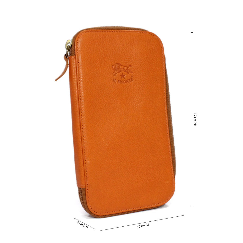 Il Bisonte Zip Around Wallet In Crossgrain Leather