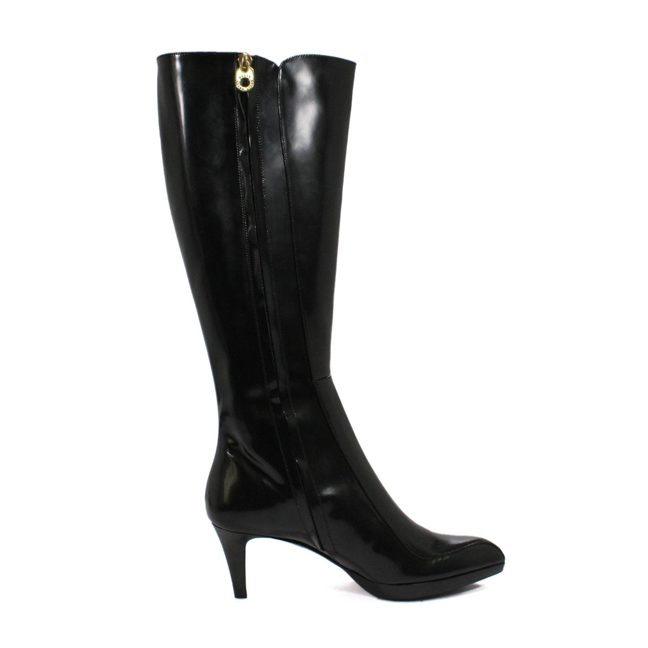 Bally Darmenia Pointed Heel Boots In Glossy Calfskin Black Leather