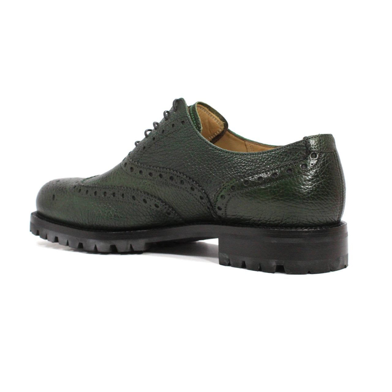 Bally Bindy Full-Brogue Men's Haindpainted Oxford 	Army Green Shoes