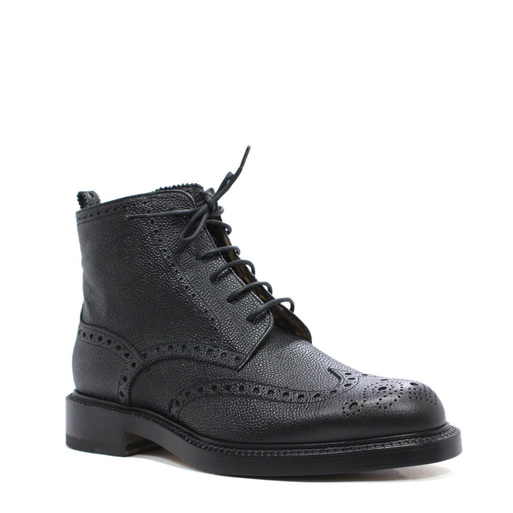 Bally Bibar Men's Brogue Boots In Grained Calfskin Leather