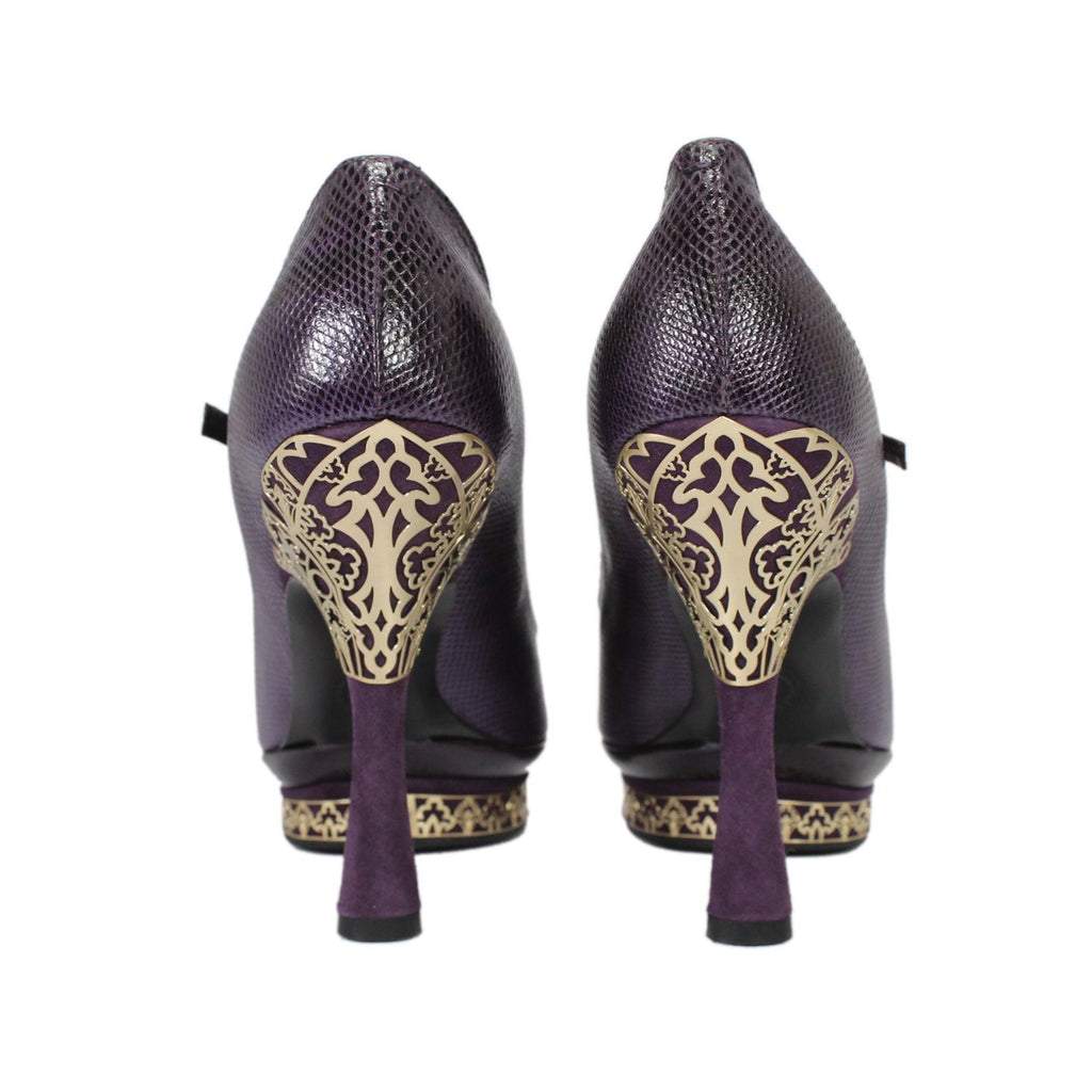 Bally Pattys Purple Pointed-Toe Flare Heel Pumps With T-Strap