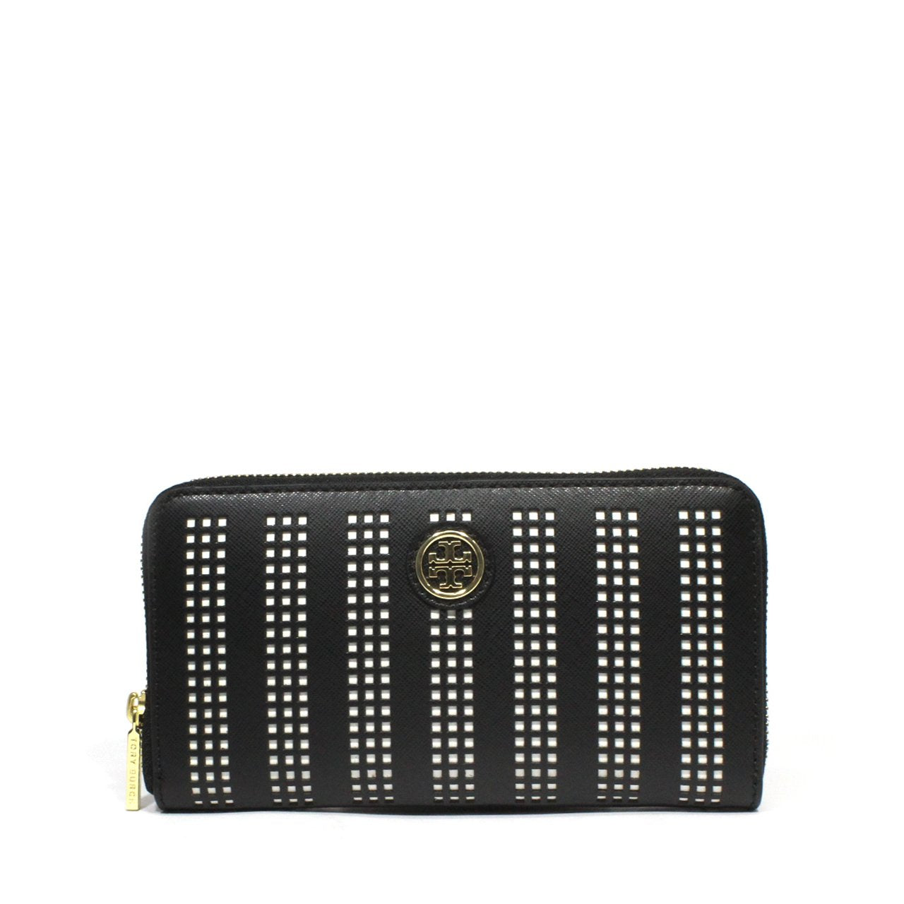 Tory Burch Robinson Perforated Saffiano Zip Around Continental Wallet