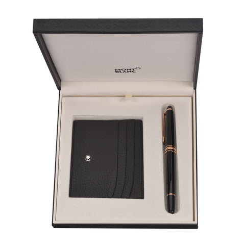 Montblanc Meisterstck Rose Gold Classique Rollerball and Pocket Holder