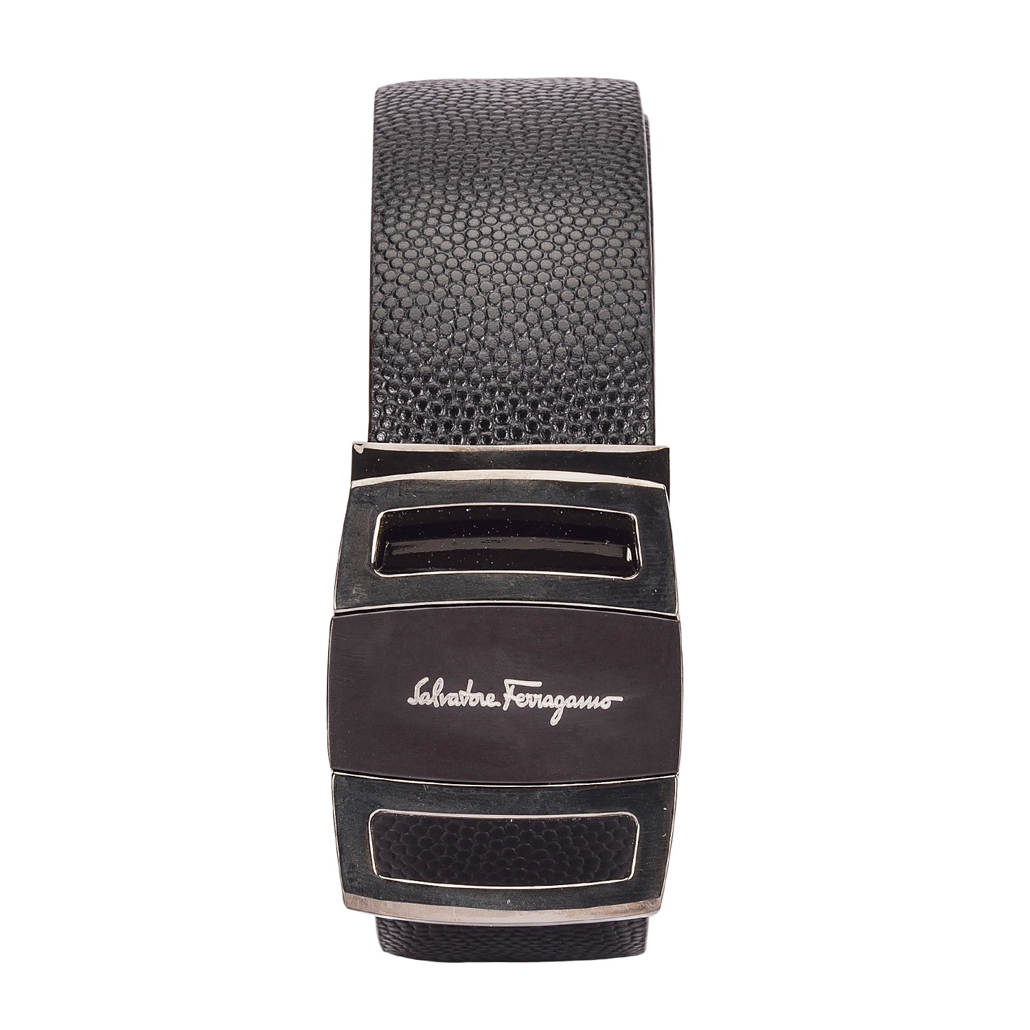 Ferragamo Elegant Black Leather Belt