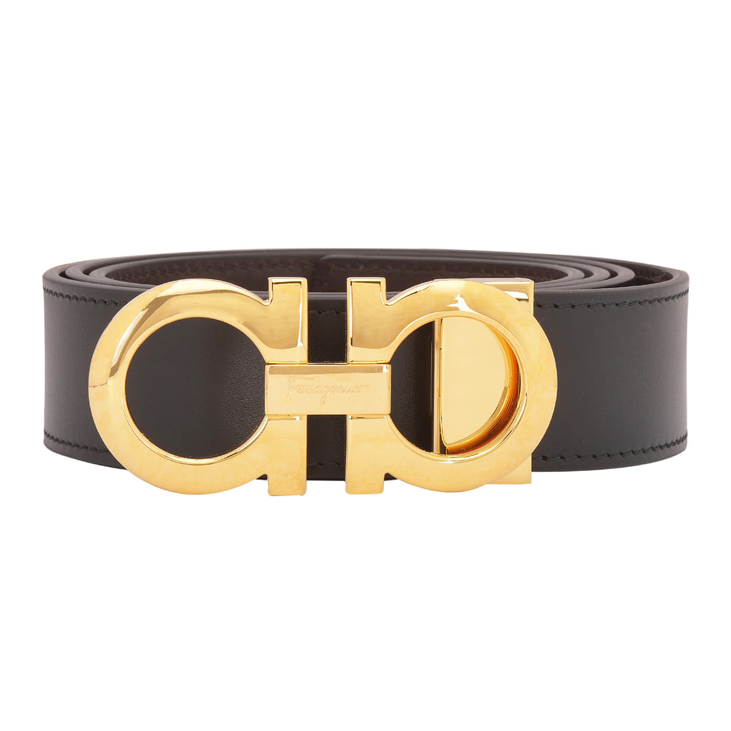 FERRAGAMO ADJUSTABLE LEATHER GOLD BUCKLE BELT