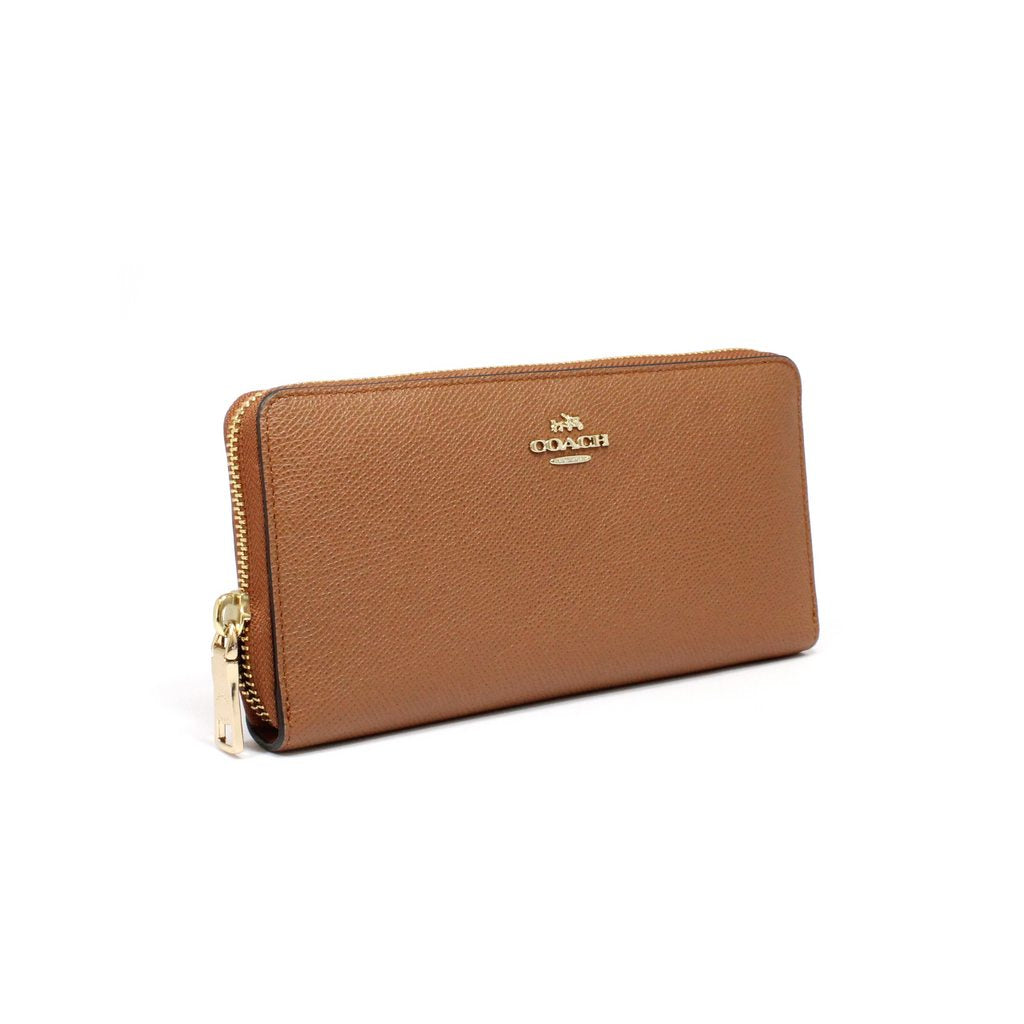 Coach Accordion Zip Long Wallet In Crossgrain Leather