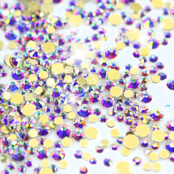 700 Pcs of 7 Different Size Glass  Flat Back  Rhinestones