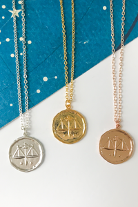 Libra vintage medallion necklace