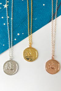 Capricorn vintage medallion necklace