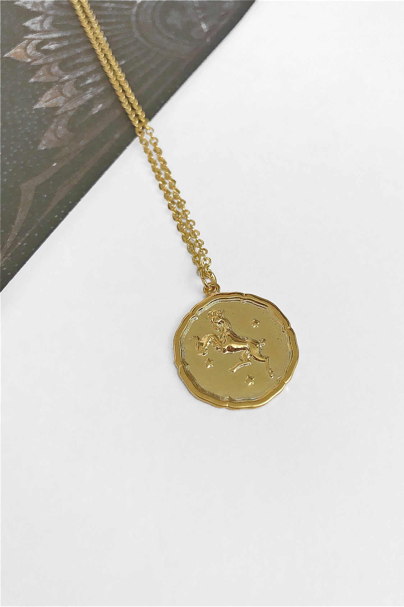 Aries vintage coin necklace