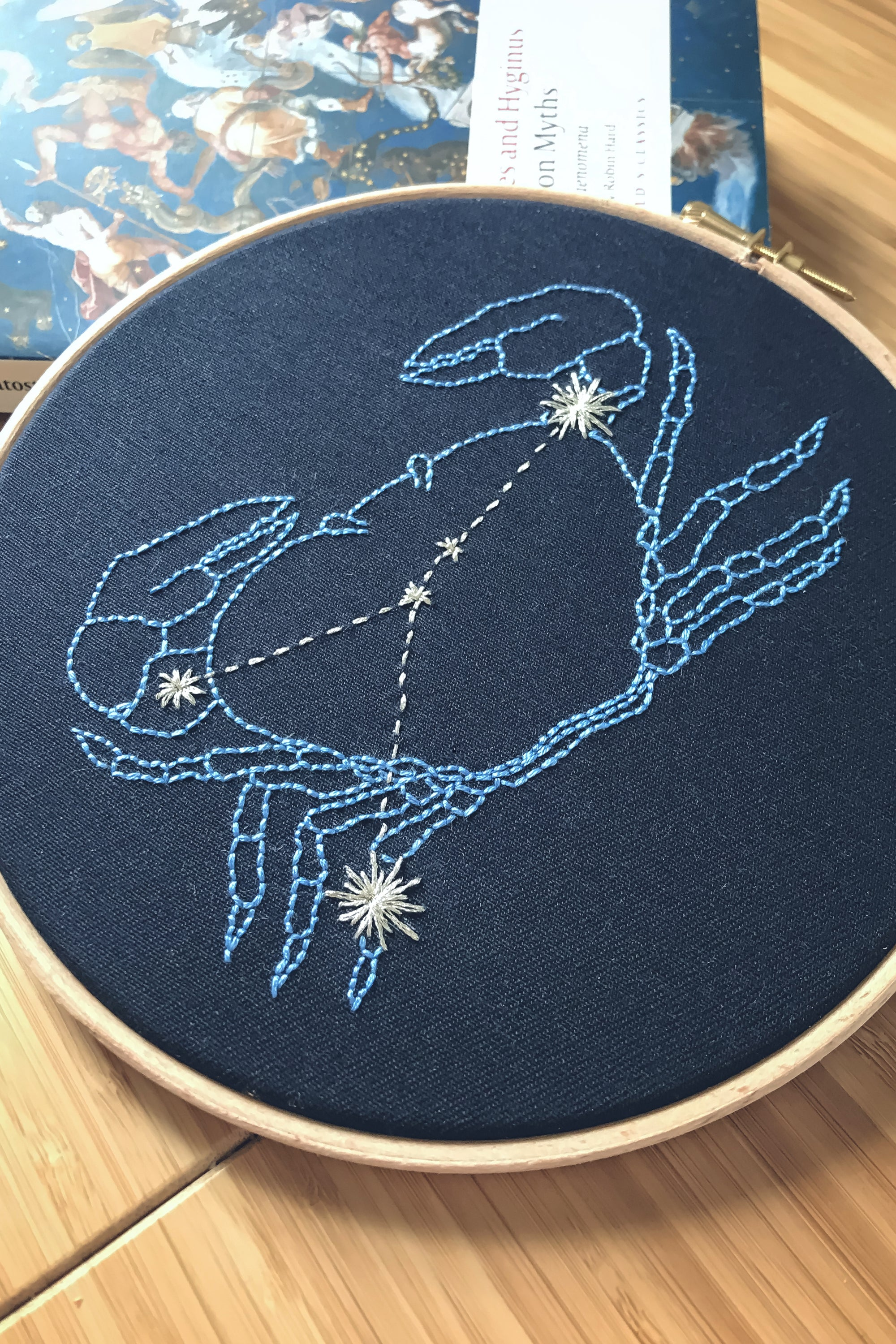 Cancer constellation embroidery hoop