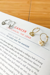 Cancer mini hoop earrings