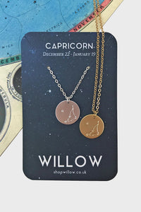 Capricorn constellation disc necklace