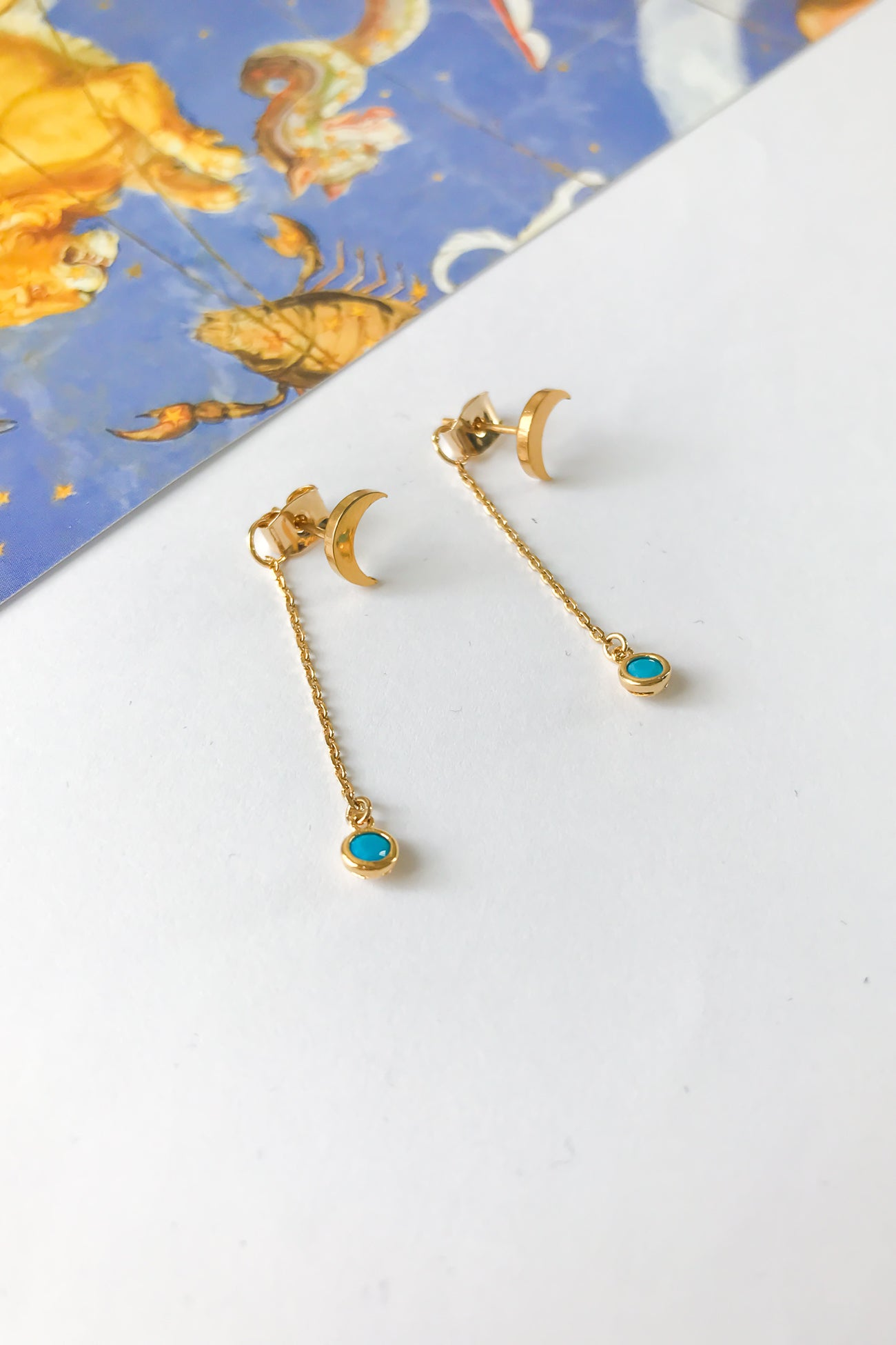 Birthstone chain stud earrings