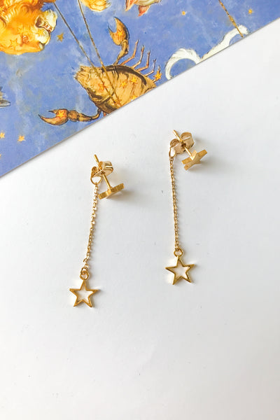 star chain stud earrings