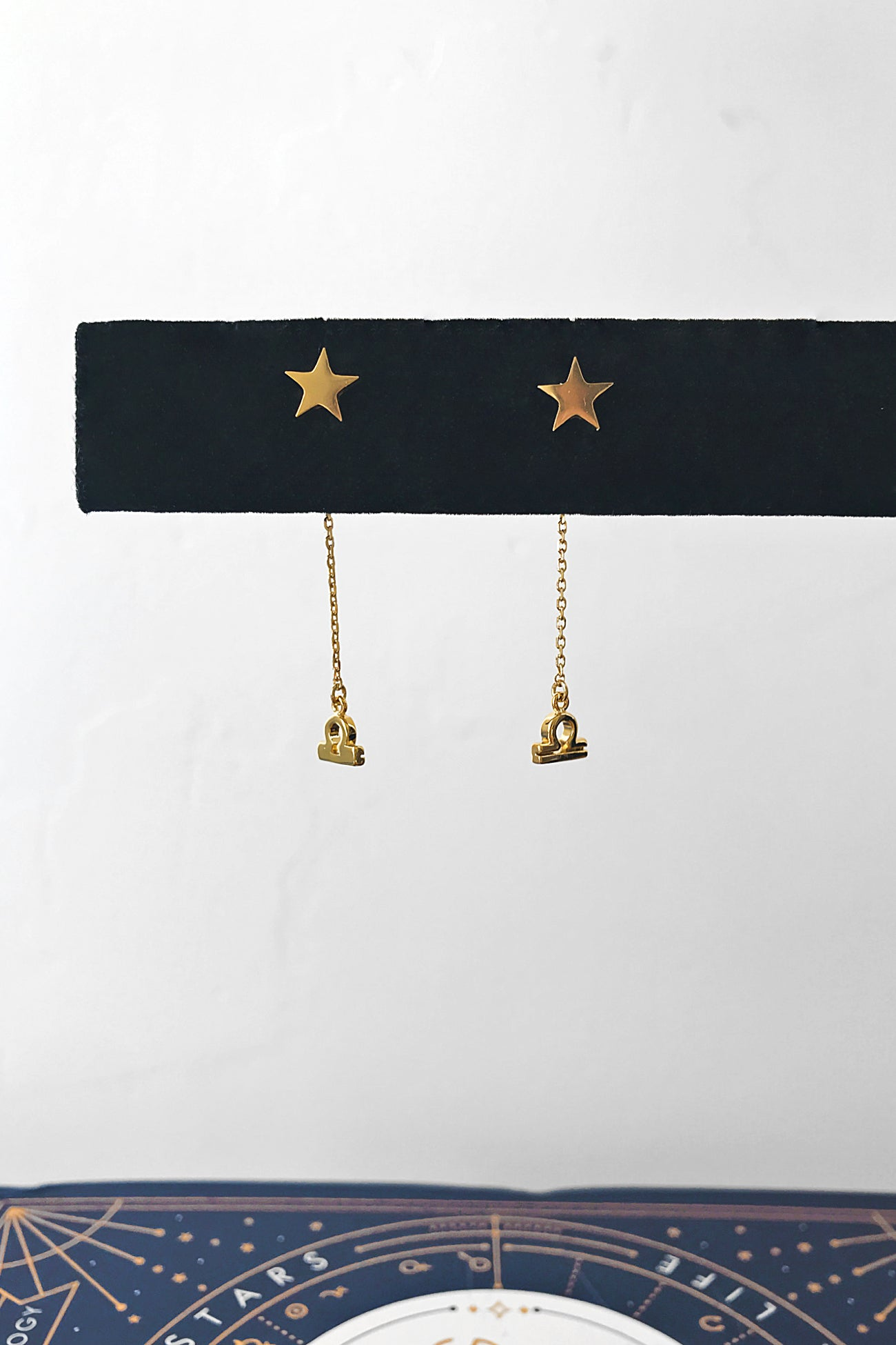 Star sign chain stud earrings
