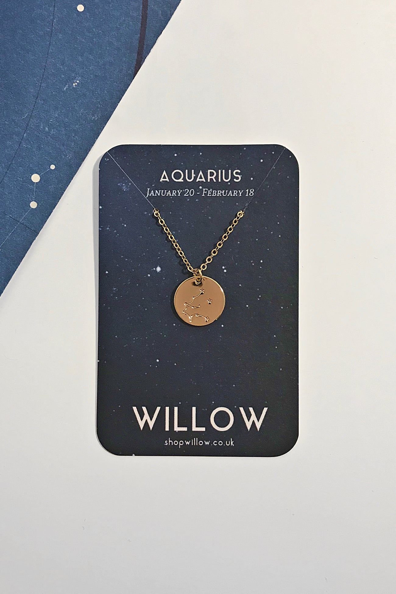 Aquarius constellation disc necklace