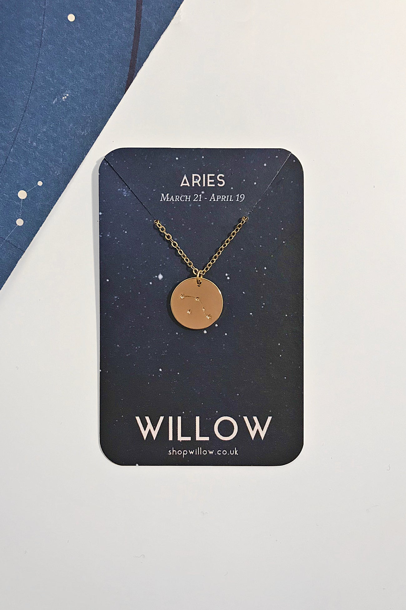 Aries constellation disc necklace