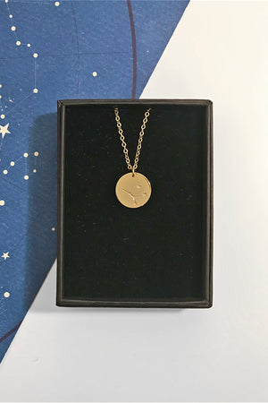 Cancer constellation disc necklace