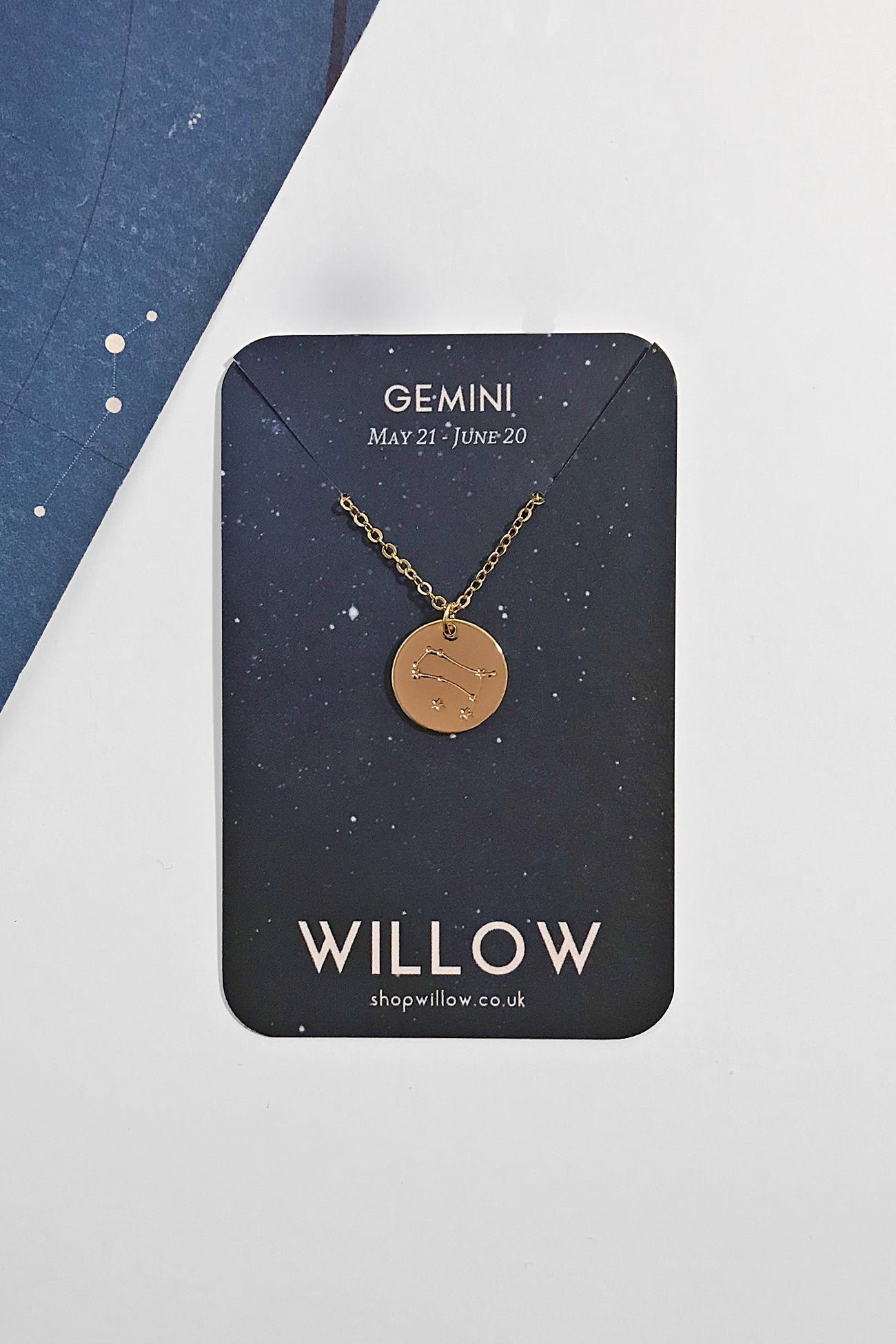 Gemini constellation disc necklace
