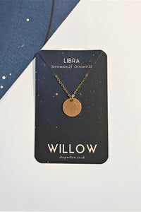 Libra constellation disc necklace