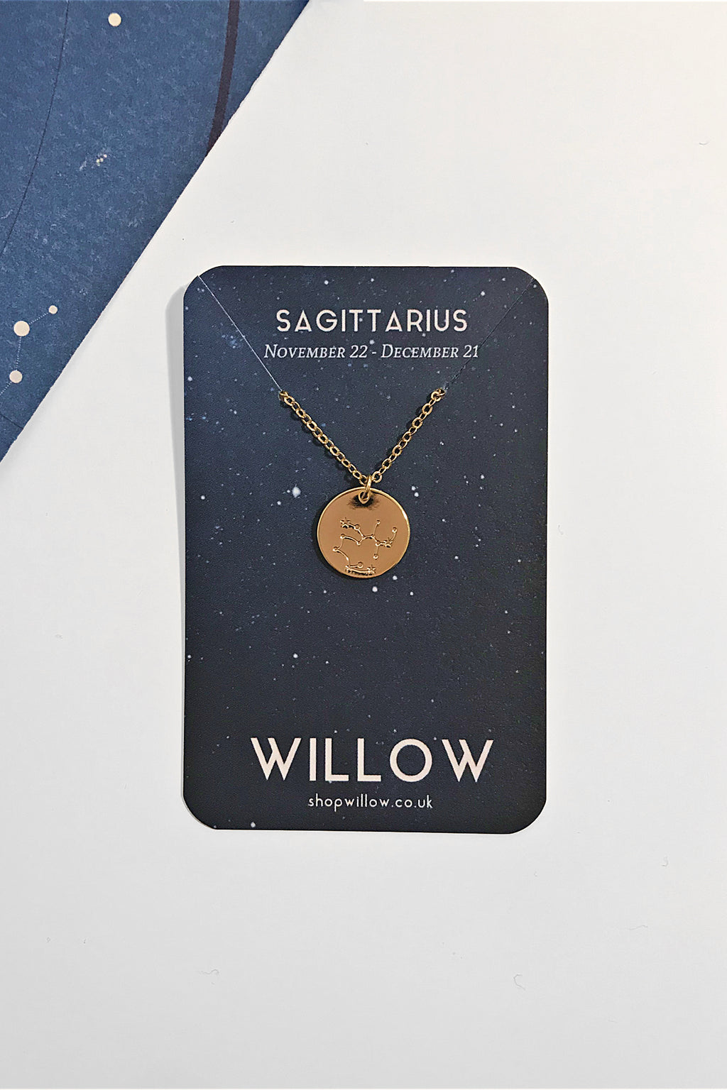 Sagittarius constellation disc necklace