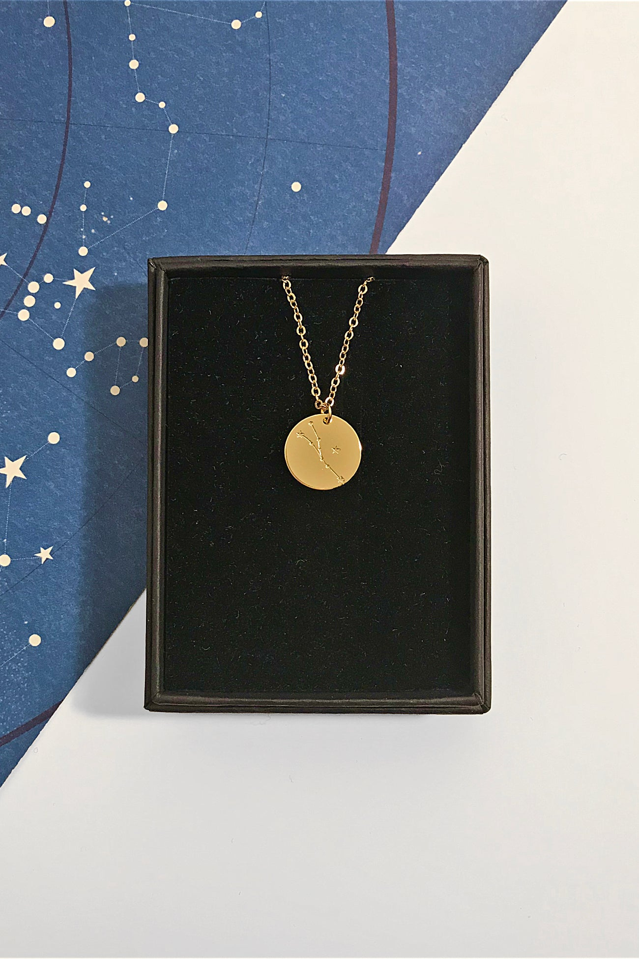 Taurus constellation disc necklace