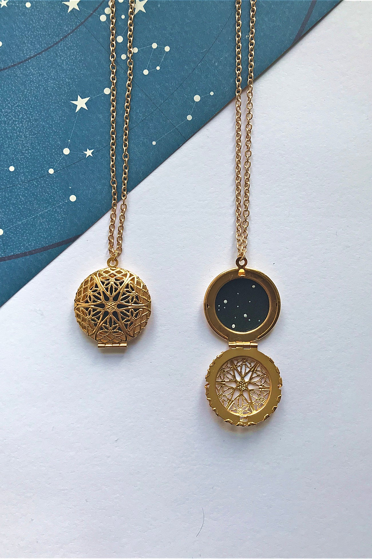 Aquarius constellation locket