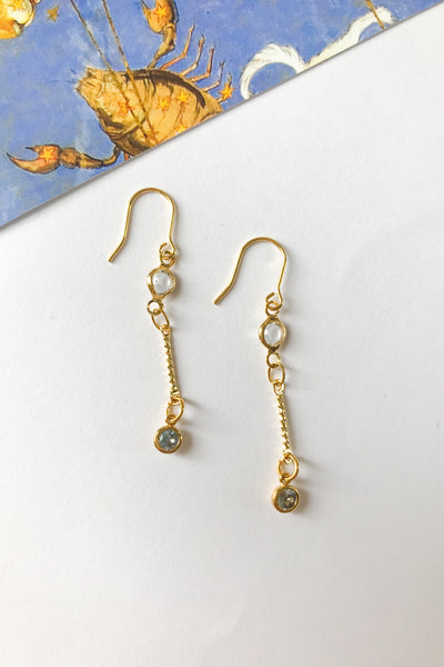 birthstone crystal chain drop earrings