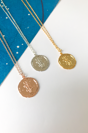 Gemini vintage medallion necklace