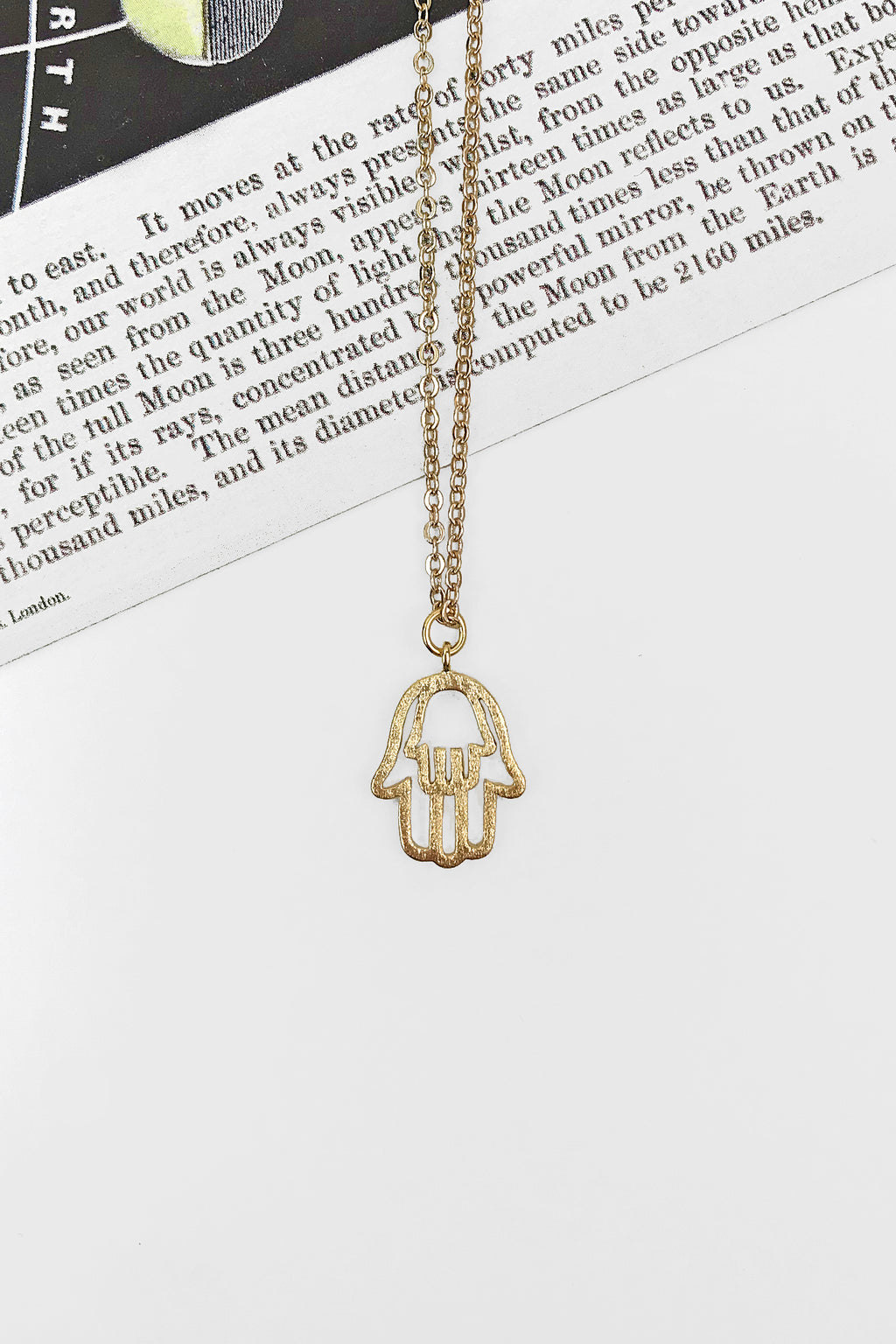 Double hamsa hand necklace