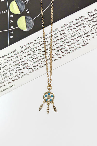 dreamcatcher necklace gold turquoise