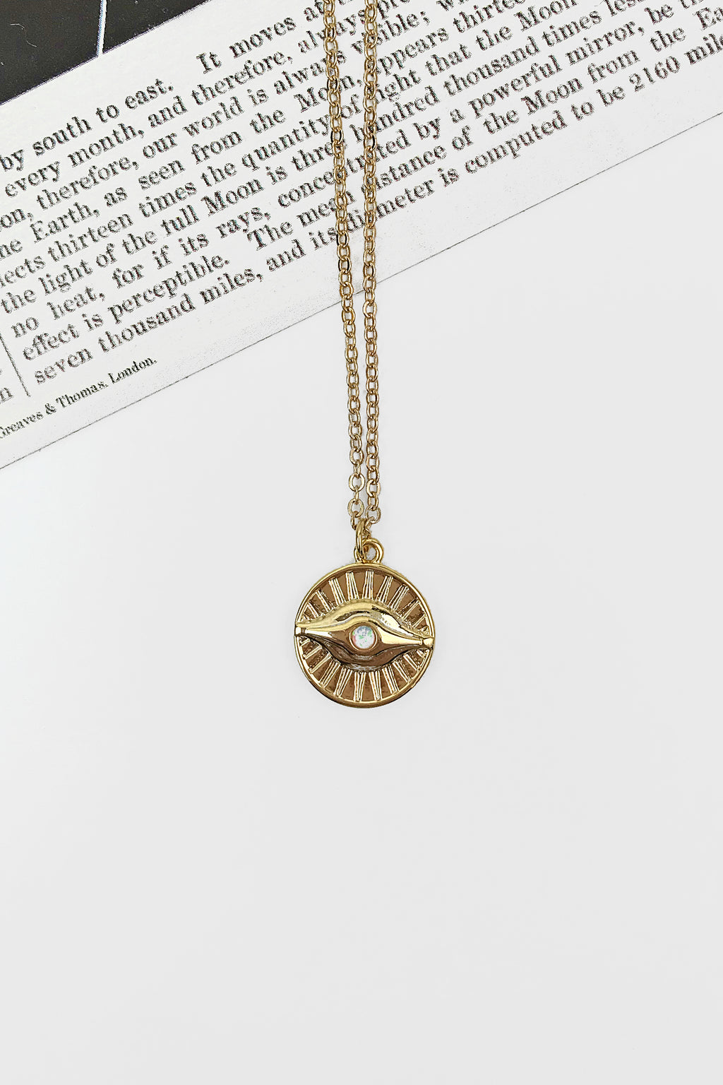 Opal sun evil eye necklace