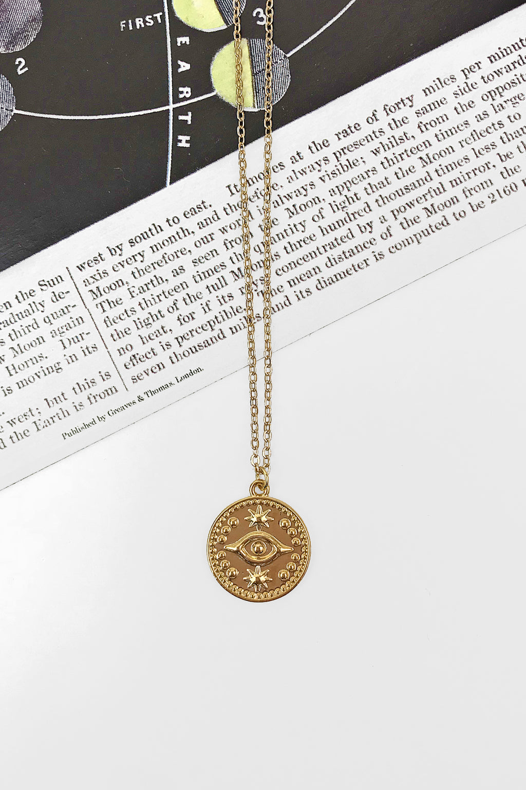 Evil eye vintage medallion necklace