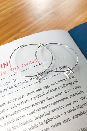 Gemini mega hoop earrings
