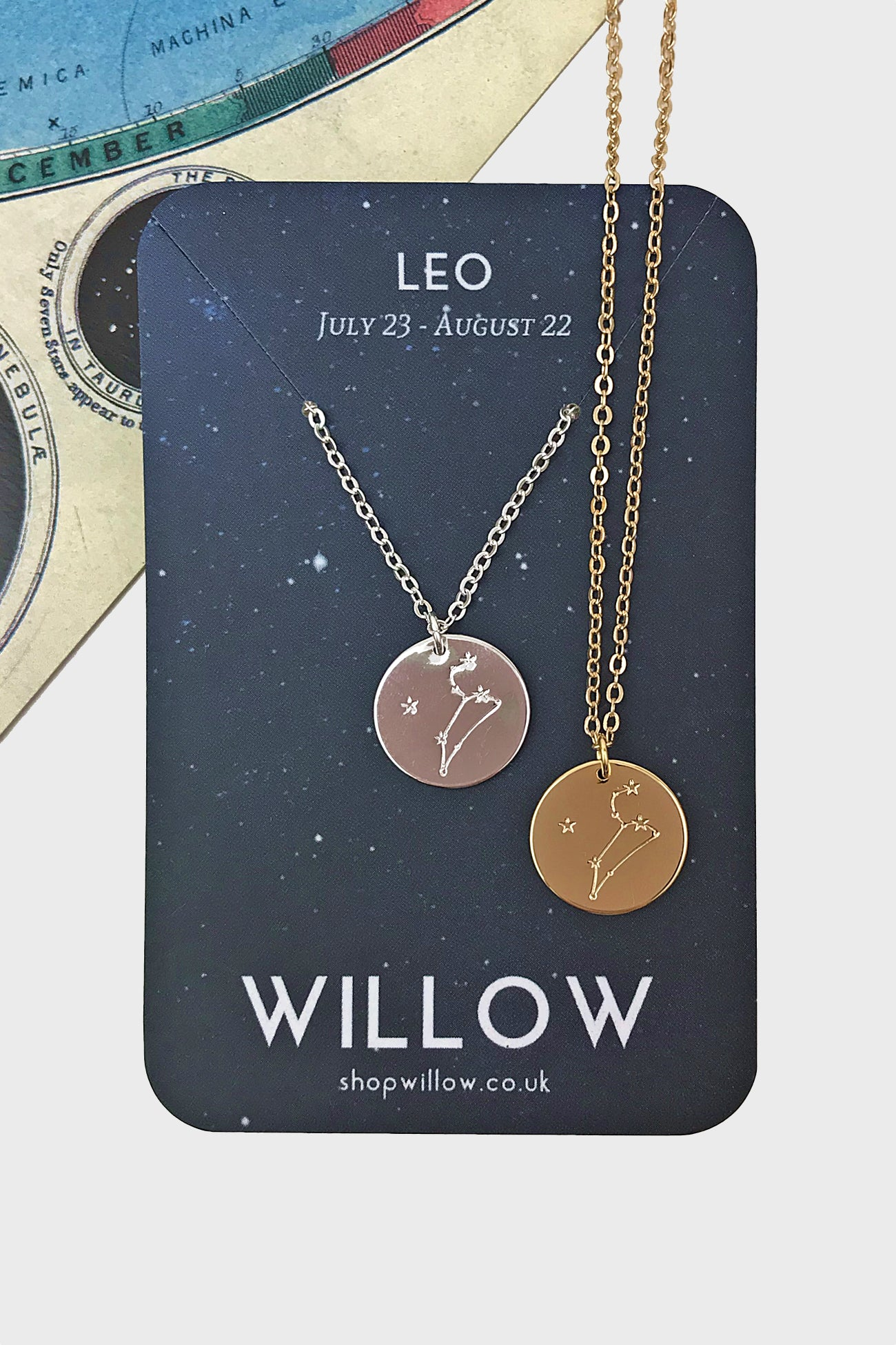 Leo constellation disc necklace