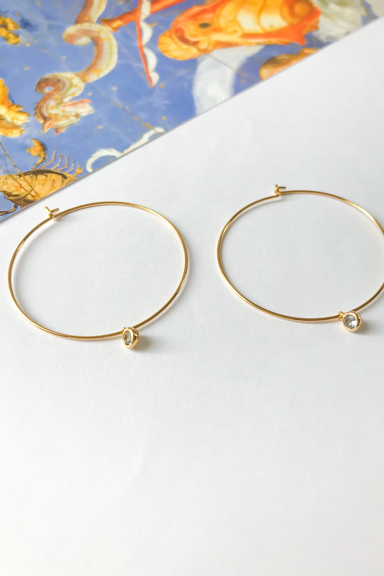 Birthstone mega hoop earrings