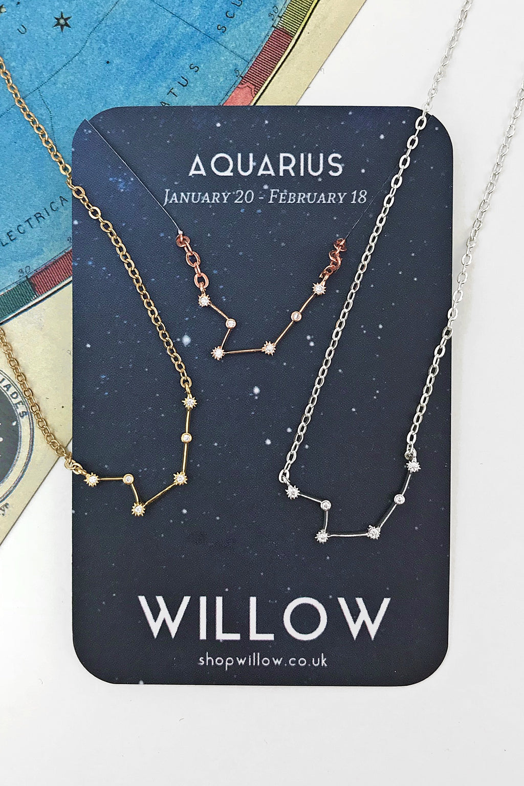 Aquarius mini constellation necklace