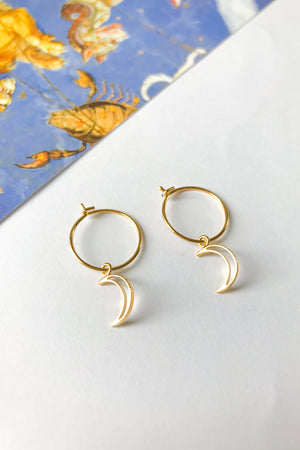 Moon mini hoop earrings